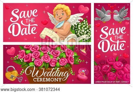 Save The Date Wedding Banners, Marriage Vector Cards With Cartoon Cupid, Festive Basket With Flowers