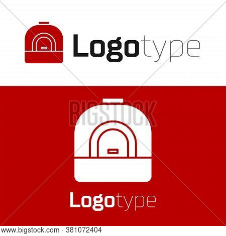 Red Oven Icon Isolated On White Background. Stove Gas Oven Sign. Logo Design Template Element. Vecto