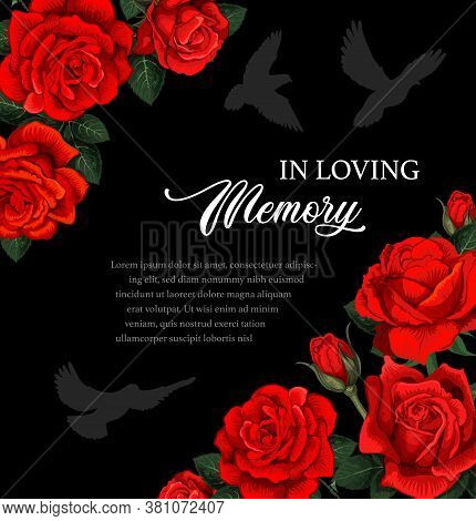 Funeral Vector Card With Red Rose Flowers And Doves Silhouettes. Obituary Poster With Floral Decorat