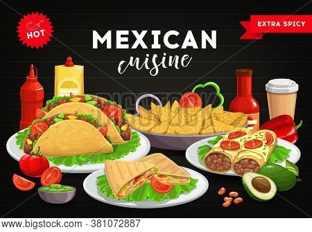 Mexican Cuisine Menu Cover, Mexico Food Tacos And , Burrito, Vector Dinner Table Background. Mexican