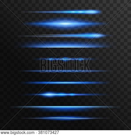 Blue And Neon Light Flashes, Glow Vector Lines. Glowing Illumination Of Lens Or Starlight Beams, Bur
