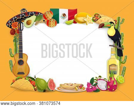Cinco De Mayo Vector Frame, Mexican Holiday. Festive Border With Mexico Food And Drink Taco, Enchila