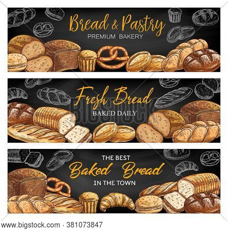 Bread And Bakery Shop Chalkboard Sketch Vector Banners. Rye Cob, Challah Braided Loaf And Vienna Whe