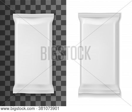 White Package Mockup, Sachet Or Pouch Bag 3d Vector Realistic Template. Foil, Plastic Or Paper White