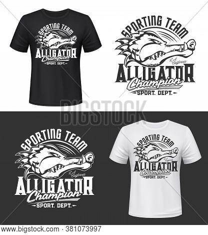 Tshirt Print With Alligator, Vector Sport Team Mascot. Isolated Apparel Mockup With Crocodile Head,