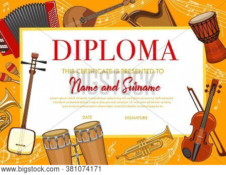 Education Diploma With Musical Instruments For School Or Kindergarten, Vector Japanese Shamisen, Dru