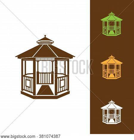 Vector Illustration Of Gazebo Isolated On White Background. Can Be Used As A Logo Or Design Element.