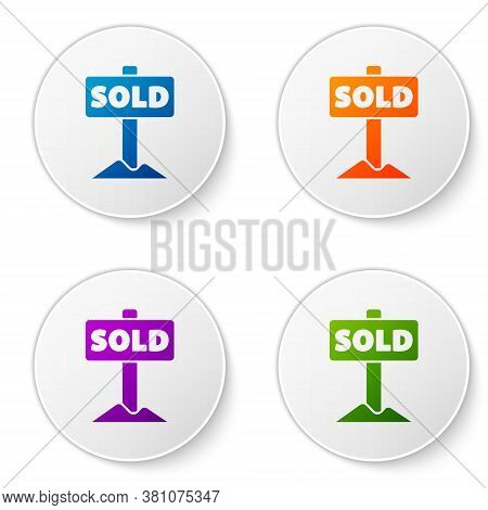 Color Hanging Sign With Text Sold Icon Isolated On White Background. Sold Sticker. Sold Signboard. S