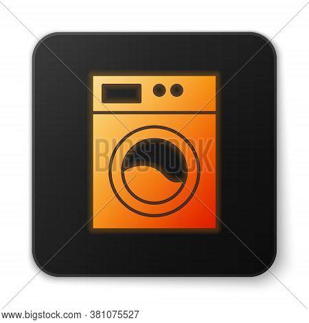 Orange Glowing Neon Washer Icon Isolated On White Background. Washing Machine Icon. Clothes Washer -