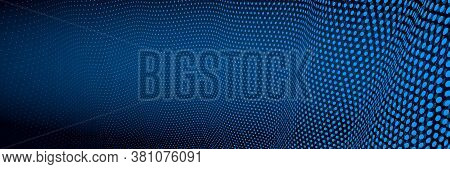 3d Abstract Dark Blue Background With Dots Pattern Vector Design, Technology Theme, Dimensional Dott