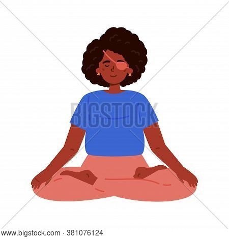 Disabled Blind Woman With Bandage Practices Yoga.daily Activities And Fun.mindfulness Practices.medi
