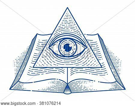 Secret Knowledge Vintage Open Book With All Seeing Eye Of God In Sacred Geometry Triangle, Insight A