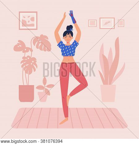 Disabled Woman With Bionic Hand Practices Yoga In Her Room.daily Activities And Fun.home Interior.mi