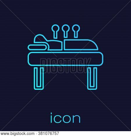 Turquoise Line Acupuncture Therapy Icon Isolated On Blue Background. Chinese Medicine. Holistic Pain