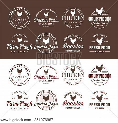 Set Of Chicken Farm Logo Vintage Premium Quality. Fresh Eggs Logo. Premium Element Design Packaging.