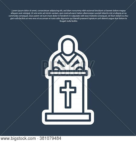 Blue Line Church Pastor Preaching Icon Isolated On Blue Background. Vector Illustration