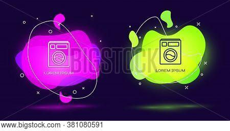 Line Washer Icon Isolated On Black Background. Washing Machine Icon. Clothes Washer - Laundry Machin