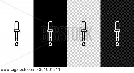 Set Line Pipette Icon Isolated On Black And White Background. Element Of Medical, Chemistry Lab Equi