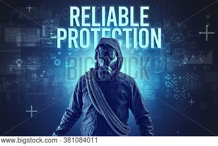 Faceless man with RELIABLE PROTECTION inscription, online security concept