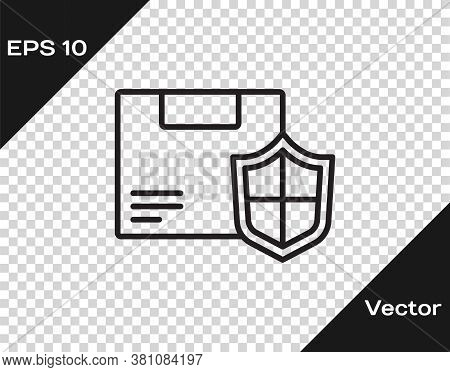 Black Line Delivery Security With Shield Icon Isolated On Transparent Background. Delivery Insurance