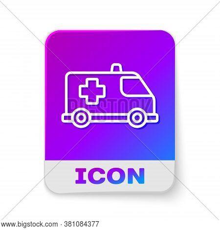 White Line Ambulance And Emergency Car Icon Isolated On White Background. Ambulance Vehicle Medical