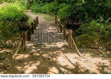 Small Wooden Footbridge Over Shallow Ravine On Hiking Trail In Wilderness Park.