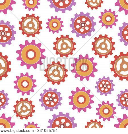Seamless Pattern With Collection Of Colored Gears.