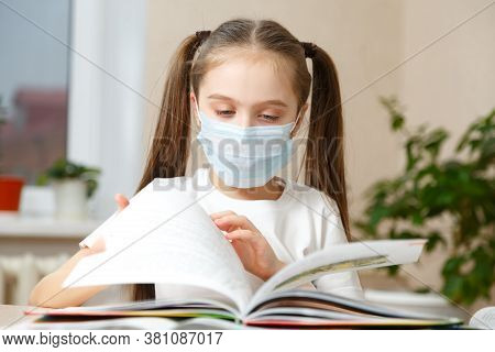 The Child Is Studying At Home, Studying At Home During Quarantine, Masked Child Studying At Home