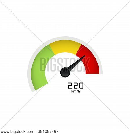 Tachometer With Arrow Or Speedometer Icon Indicating High Speed. Vector On Isolated White Background