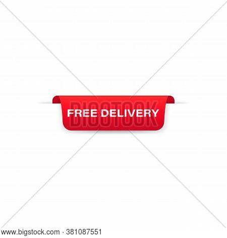 Free Delivery Badge Red Banner Ribbon. Label. Tag. Top Bookmark. Sticker Icons Templates. Vector On