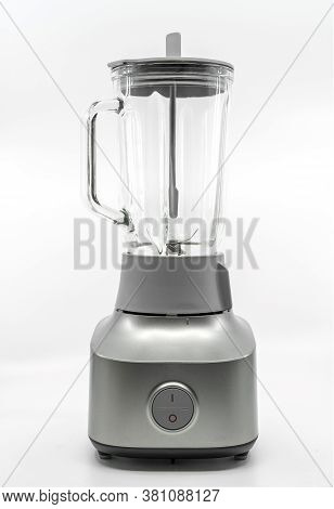 Isolated Empty Blender Machine On White Background, Clipping Path Around Blender In File.