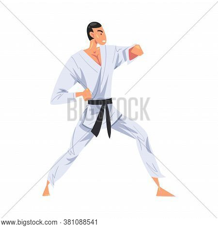 Male Karate Fighter Character In White Kimono Doing Karate, Japan Martial Art Cartoon Style Vector I