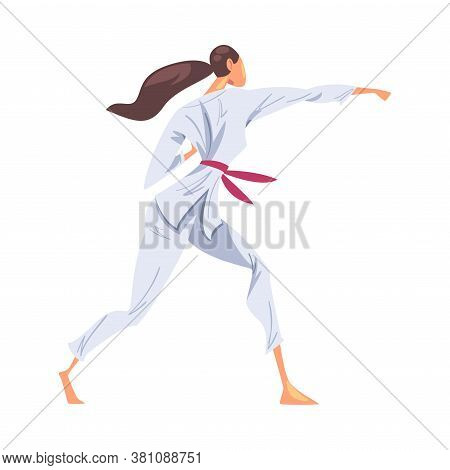 Female Karate Fighter Character In White Kimono Doing Karate Japan Martial Art Cartoon Style Vector