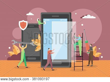 Tiny Male Characters Technicians Repairing Smartphone Screen, Vector Flat Illustration