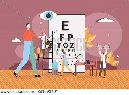 Doctor Oculist Testing Patient Eyesight Pointing At Eye Chart Symbols, Vector Flat Illustration