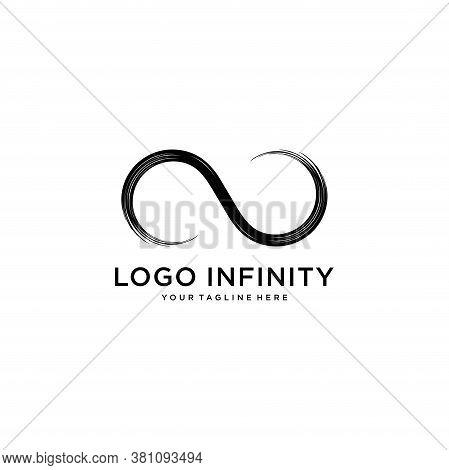 Infinity Logo Design.grunge Infinity Symbol.isolated On White Background