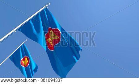 3d Rendering Of The Flag Of Asean Waving In The Wind