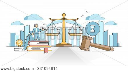 Business Law With Legal Rules And Rights Regulation Statement Outline Concept. Ethical And Moral Com