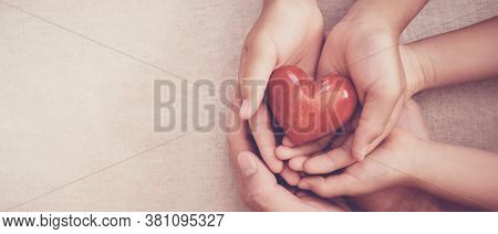 Hands Holding Red Heart, Heart Health, Charity Volunteer Donation, Csr Responsibility, World Heart D