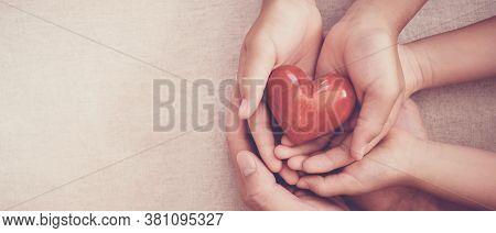 Hands Holding Red Heart, Heart Health, Charity Volunteer Donation, Csr Responsibility, World Heart D