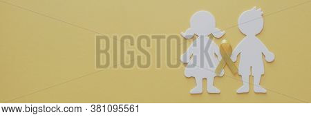 Boy And Girl Paper Cut With Yellow Gold Ribbon, Sarcoma Awareness, Bone Cancer, Childhood Cancer Awa