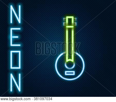 Glowing Neon Line Banjo Icon Isolated On Black Background. Musical Instrument. Colorful Outline Conc