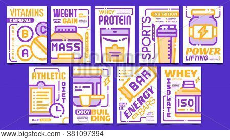 Sport Nutrition Advertising Posters Set Vector. Energy Bar And Bcaa, Whey Protein And Isolate, Vitam