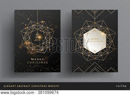 Christmas Card Gold And Black Background Design. Stylized Christmas Wreath And Christmas Tree Modern