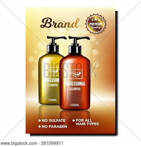 Sulfate-free Professional Shampoo Poster Vector. Blank Shampoo Bottles For Wash Hair Cosmetic Produc