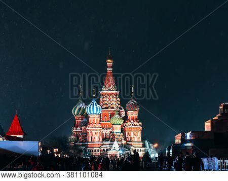 St. Basils Cathedral In Moscow On Red Square At Night In Winter In Russia