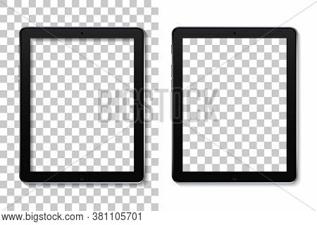 Tablet Mockup With Screen. Mock Of Ebook With Touch. Ereader Isolated On Transparent Background. Rea