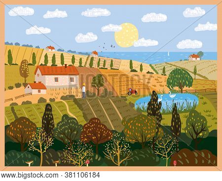 Autumn Panorama Countryside Landscape Farm Fields. Fall Rural Rustic View, Trees, Hills Yellow Orang