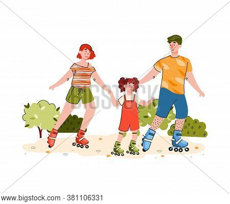 Happy Family Riding On Roller Skates - Cartoon People Roller Skating With Child In Summer Park. Pare