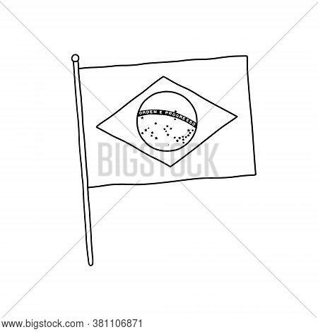 Brasil Flag Vector, Outline Illustration. Vector Black And White Brasil Flag.
